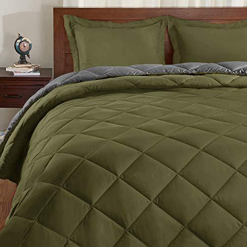 Basic Beyond Down Alternative Comforter Set (Queen,Olive Green/Grey) - Reversible Bed Comforter for All Seasons