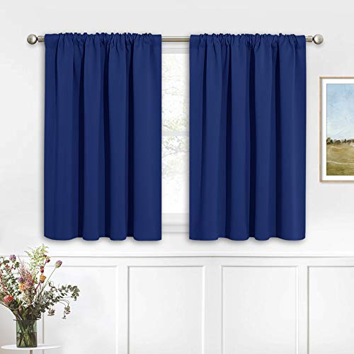 RYB HOME Kitchen Curtains 36 inch Long for Small Window Curtains Short Drapes for Bedroom, Half Window Tiers for Kids Room Bathroom Nursery, W 42 x L 36 in per Panel, Marine Blue, 2 Pcs