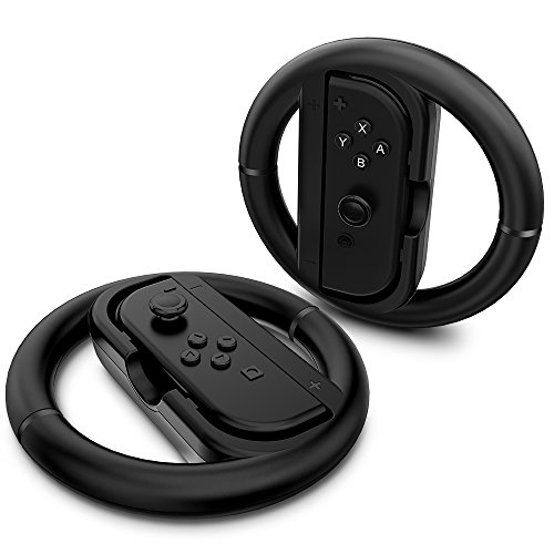 Maxboost Joy-Con Wheel for Nintendo Switch (2 Pack), Steering Wheel Accessory Attachment, Wheel Grip for Use With Nintendo Switch Joy-Con Controllers (Black 2 Pack)