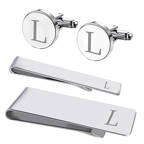 BodyJ4You 4PC Cufflinks Tie Bar Money Clip Button Shirt Personalized Initials Letter L Gift Set