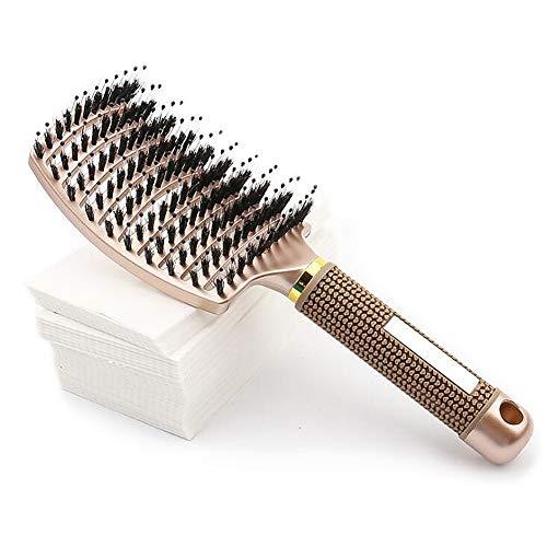 Brosse à Cheveux, Brosse à Cheveux en Poils de Sanglier Naturels, Réduit les Frisottis et Statique, pour Cheveux Bouclés, Crépus, Secs, Epais, Frisés - Jaune