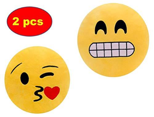 ML Pack 2 x Cojín Emoji Sonrisa, Almohada Emoji Emoticon Relleno Suave Juguete de Peluche (amrillo-Beso-gruñon)