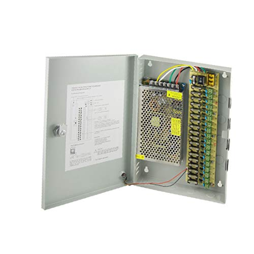 X-DREE DC 12V 10A 18 CH 18 canales Cámara CCTV Caja de fuente de alimentación distribuida (2704269bb0c0c3619e3bb17bfeaea04f)