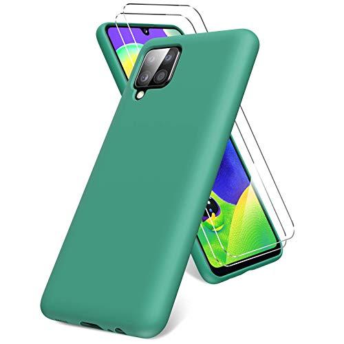 Vansdon Cover per Samsung Galaxy A12, 2 Pellicola Protettiva in Vetro Temperato, Gomma Gel di Silicone Liquida Antiurto Custodia - Verde Notte