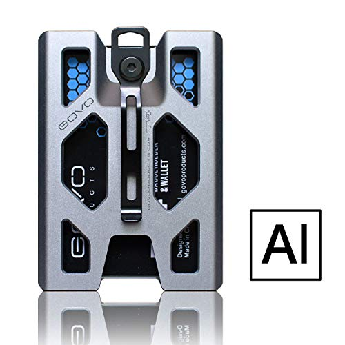 Aluminum GOVO Badge Holder/Wallet_ Durable ID Card Holder with Metal Clip and 4 Cards Slot (Silver)