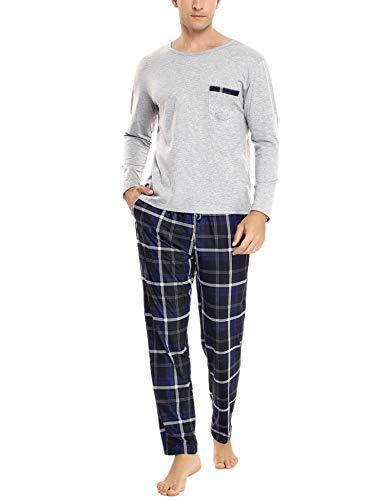 Sykooria Herren Schlafanzug lang mit Bündchen aus Baumwolle Zweiteiliger Pyjama Herren lang, Langarm Shirt & Schlafanzughose