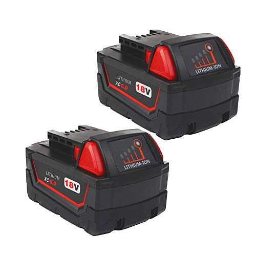 2Pack High Output 6.0Ah 18V M-18 Battery Replace for Milwaukee 18V Battery Lithium XC 48-11-1850 48-11-1862 48-11-1840 48-11-1828 48-11-1815