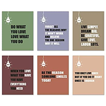 Infinity Creations Light Bulb/Idea Inspirational Quotes Wall Art  Set of 6-Phrases to Live by Unframed Poster Photos  8 x10