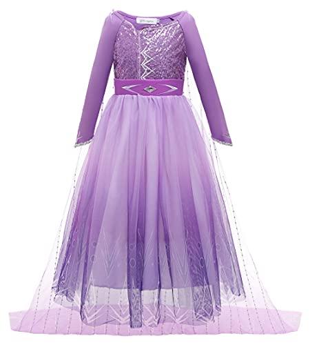 YOSICIL Disfraz de Elsa Princesa Vestido Elsa Frozen Niña don Capa Malla Película Cosplay Halloween Navidad Carnaval Fiesta Cumpleaños, don 6Pcs Accesorios