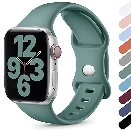 Upeak Compatible con Correa Apple Watch 38mm 40mm 42mm 44mm, Correa Deportiva de Silicona Suave Compatible con iWatch Series SE 6 5 4 3 2 1, 42mm/44mm-M/L, Pino Verde