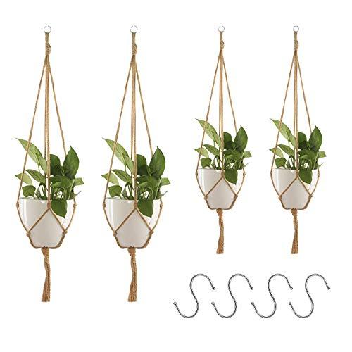 Appendiabiti per piante JOOPOM 2Pcs Macrame Portapiante Cesto Corde per piante sospese Iuta da interno Esterno per pensile a soffitto con 4 ganci sospesi Cesto per fioriera