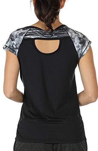 icyzone Damen Fitness Training T-Shirt Kurzarm Sportshirt Laufshirt Rückenfrei Gym Yoga Oberteile (L, Storm/Black)