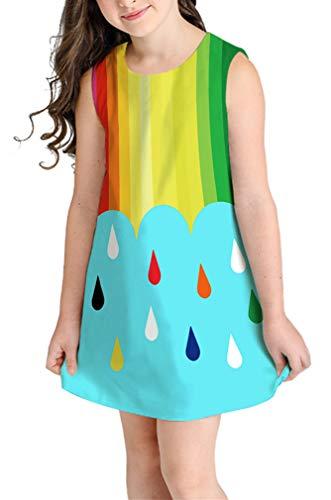 Ocean Plus Niña Verano Casual Vendimia Vestidos Sin Mangas Flamenco Patrón Lindo Impreso Rodilla Larga Gatito Tramo Partido Dress (M (Altura: 145-155 cm), Gotas de Lluvia Arcoiris)