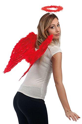 P 'tit payaso 80163de alas de ángel en plumas–50x 50cm–rojo