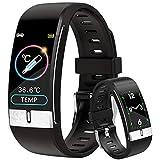 DigiKuber Smartwatch con Medidor de Temperatura Corporal, Reloj Inteligente Medidor de Frecuencia Cardíaca Medidor de Presión del Tiempo Contador de Calorías Podómetro para Hombre y Mujer, Negro