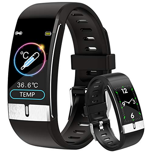 DigiKuber Temperatura Corporea Smartwatch Nero Uomo & Donna IP68 Activity Tracker Orologio Contapassi Braccialetto Contapassi Fitness Tracker Cardiofrequenzimetro da Polso (Nero)