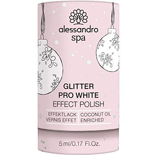 alessandro Spa Pro White Nail Effect Polish Glitter - Aufhellender Effektnagellack, XMAS-Edition, 5 ml