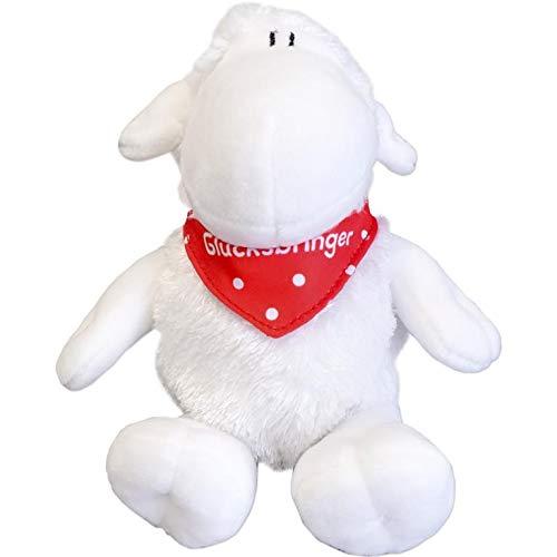 Sheepworld - 45563 - Schaf mit Halstuch Glücksbringer, ca. 18 cm, sitzend!!!, weich und flauschig Plüschtier, 100% Polyester, Weiß/Rot