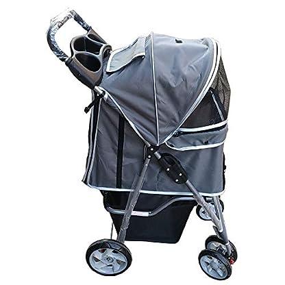 Saving Plus Pet Travel Stroller Dog Cat Pushchair Pram Jogger Buggy Trolley Puppy Jogger Folding Carrier With 4 Wheels (Grey) 2