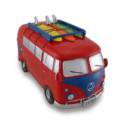 Hucha grande con diseño de furgoneta, color rojo y azul