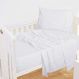 NTBAY 3-Piece Microfiber Toddler Sheet Set, Solid Crib Fitted Sheet Flat Sheet and Envelope Pillowcase, Baby Bedding Sheet & Pillowcase Sets, White