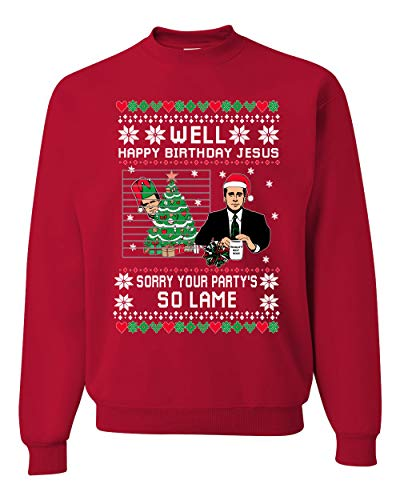 Well Happy Birthday Jesus Funny Quote Office Ugly Christmas Sweater Unisex Crewneck Graphic Sweatshirt, Red, X-Large