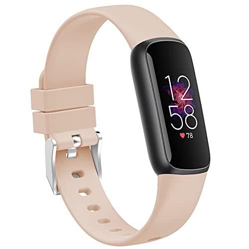 TopPerfekt Armbänder Kompatibel mit Fitbit Luxe, Damen Herren Große Kleine Größe Weiches Silikon Ersatz Sport Armband Dünn Strap Zubehör für Fitbit Luxe Fitness und Wellness Tracker in 2021
