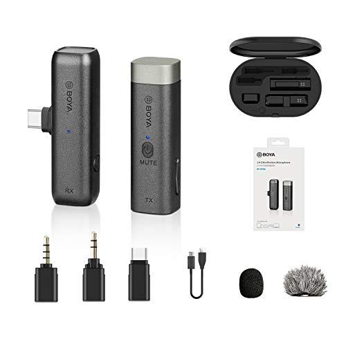 BOYA BY-WM3U Micrófono inalámbrico de 2,4 GHz con tipo C, adaptadores TRS y TRRS de 3,5 mm y estuche de carga Compatible con la mayoría de los teléfonos inteligentes, tabletas, Mac PC, iPad Pro, DSLR