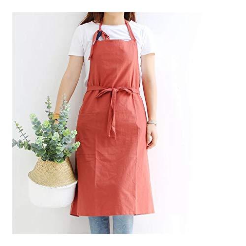 Jiande Baumwolle Schürze im japanischen Stil Garten Schürzen europäische und amerikanische Arbeitskleidung Florist Baking Extra Large hängend Ansatz Spitze Idylle Schürze mit Tasche (Color : Red)