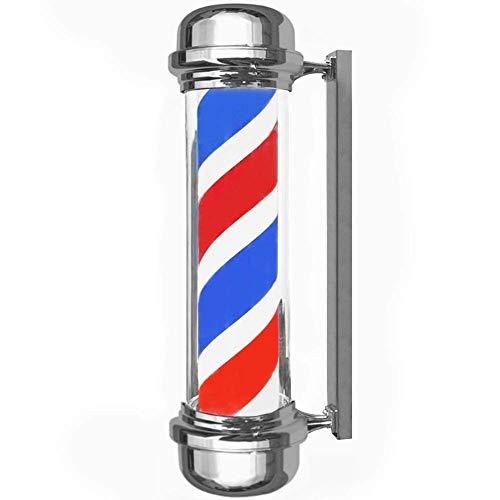 XCJJ Traditionnel 27 'Led Barber Pole, Red White Blue Rotating Light Stripes Sign Hair Salon, étanche, intérieur et extérieur, montage mural,rouge,71CM
