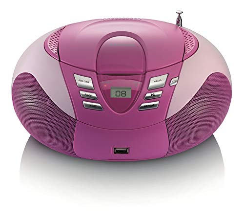 Lenco SCD-37 draagbare FM-radio met CD-speler (USB 2.0) roze
