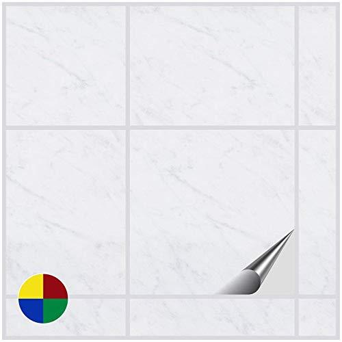 FoLIESEN Fliesenaufkleber für Bad und Küche - 15x15 cm - Dekor White Marble - 200 Fliesensticker für Wandfliesen