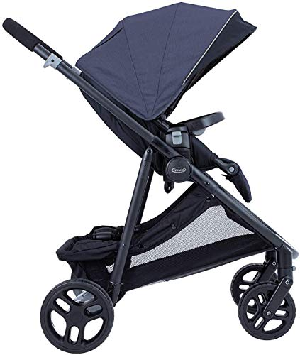 Graco Time2Grow i-Size Travel System (Pushchair & Car Seat, Birth to 3 Years Approx, 0-15kg) with Raincover, Denim Graco Suitable from birth to approx. 3 years (0-15kg) Travel System package with SnugEssentials i-Size infant car seat included Carrycot compatible as a stand-alone or using the main/toddler seat in the rear (suitable from birth up to 9kg) 2