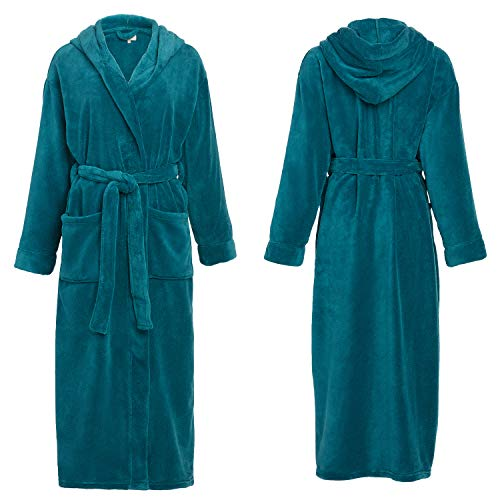 Alexander-Del-Rossa-Womens-Plush-Fleece-Robe-with-Hood-Warm-Solid-Bathrobe