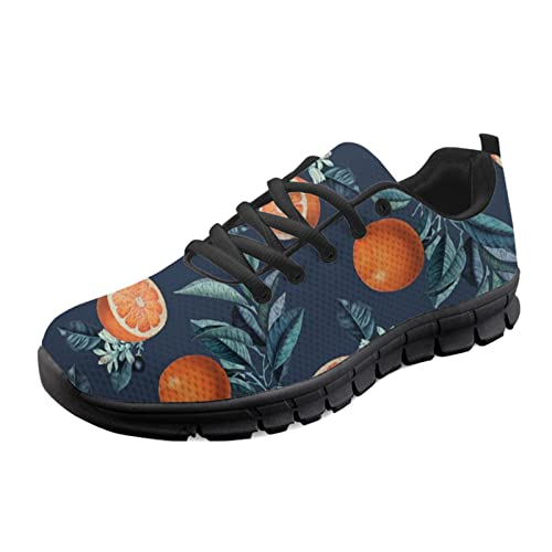 HUGS IDEA Zapatillas de deporte para adultos con absorción de golpes, zapatillas de malla para correr, caminar, flores de copo de nieve de perro de dibujos animados, Orange Tree, 40.5 EU