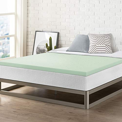 Best Price Mattress Twin TXL Mattress Topper - 2 Inch Memory Foam Bed Topper with Green Tea Cooling Mattress Pad, Twin XL Size