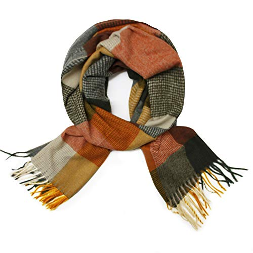 Glamexx24 Geblokte gebreide sjaal XXL dames lang knuffelige warme sjaal meerdere kleuren franjes poncho sjaal oversized plafond sjaal