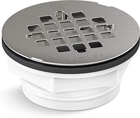 KOHLER K 22676 BS Round PVC Shower Receptor Drain Brushed Stainless Finish product image