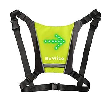 Gilet LED Clignotants de cyclisme [New Version 2 en 1] Bretelles Réglables et Adaptable pour Sac à Dos, Télécommande Étanche Sans-Fil, Batterie Rechargeable en 4H et 15H d'Autonomie-Manuel en français