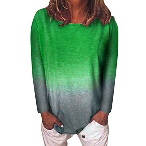 Best Buy! Women's Tunic Tops Gradient Scoop Neck Tees Long Sleeve T-Shirt Blouse