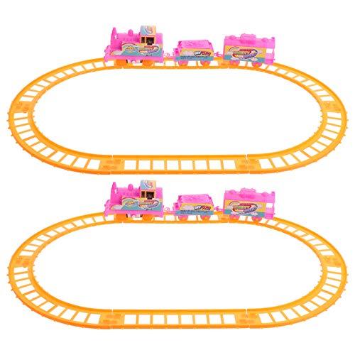 TOYANDONA 2Sets Kinderauto Rennstrecke Set Elektrische Schiene Zug Spielzeug Rennwagen Puzzle Spielzeug Bauauto Rennstrecken für Jungen Mädchen