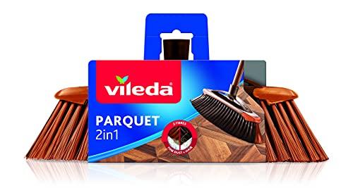 Vileda Scopa 2 in1 Parquet, Scopa per Interni, con Due Tipi di Fibre, per Polveri, per Capelli, Fibre in PET Riciclato, 14.5 x 33 x 5.5 cm, 99.8 g