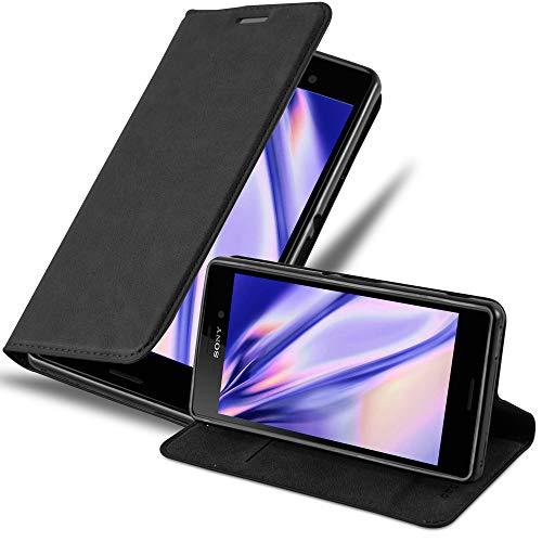 Cadorabo Hülle für Sony Xperia M4 Aqua - Hülle in Nacht SCHWARZ – Handyhülle mit Magnetverschluss, Standfunktion & Kartenfach - Case Cover Schutzhülle Etui Tasche Book Klapp Style