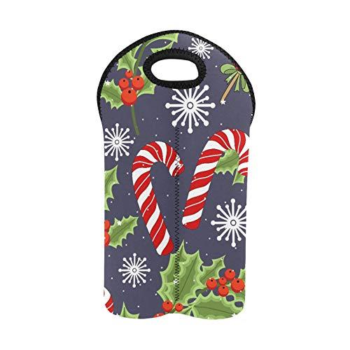 Wine Bottle Gift Bag Holiday Christmas Reindeer Holiday Neoprene Wine Bag Double Bottle Carrier Wine Travel Bags Thick Neoprene Wine Bottle Holder Keeps Bottles Protected