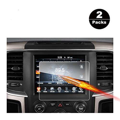 2013-2018 Dodge Ram 1500 2500 3500 Uconnect Touch Screen Car Display Navigation Screen Protector, RUIYA HD Clear Tempered Glass Car in-Dash Screen Protective Film (8.4 Inch X2)