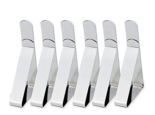 Vi.yo 6 Stück Tischdeckenklammer Tischdecke Clips Edelstahl 6 x 5,3 x 1,2cm,0.5mm