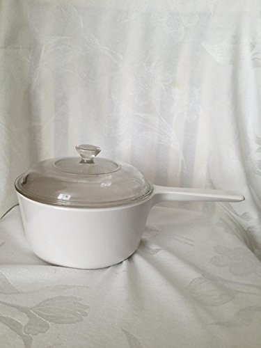 Vintage Corning Ware Winter White 1.5 Liter Saucepan and Clear Lid