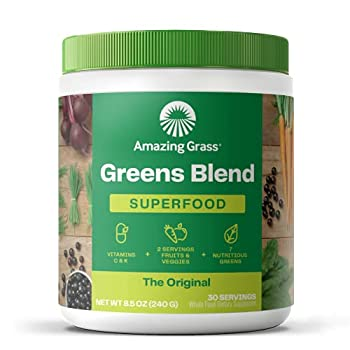 Amazing Grass Greens Blend Superfood  Super Greens Powder with Spirulina Chlorella Beet Root Powder Digestive Enzymes & Probiotics Original 30 Servings  Packaging May Vary