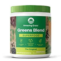 Amazing Grass Greens Blend Superfood: Super Greens Powder with Spirulina, Chlorella, Digestive Enzymes and Probiotics, Original, 30 Servings (Packaging May Vary)