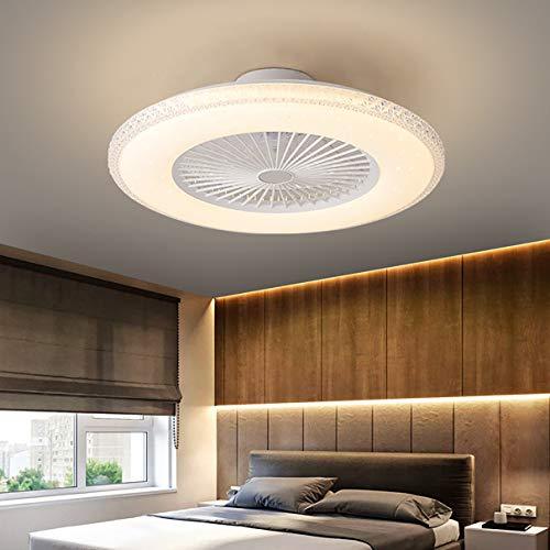 Moderno LED Ventilador Techo con Luz Y Mando Distancia Silencioso 3 Velocidades Regulable Dormitorio Lamparas Ventilador De Techo 80W con Temporizador Sala Ventilador Techo con Luz,B